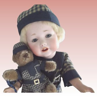 Hilda Toddler With His Steiff Bear