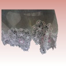 Fine Lace and Organdy Small Tablecloth/Large Doily