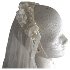 First Communion Veil Rosette Trim