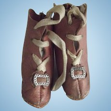 Doll Boots With Original Ties and Trim Early