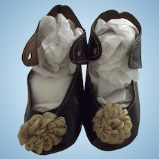 Black Doll Shoes With Rosettes