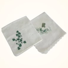 Two Handkerchiefs With Green Design