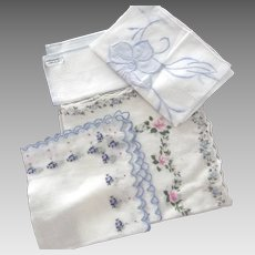 Four Handkerchiefs With Blue