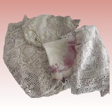 Remnants With Tambour Lace For Repurpose or Doll Clothes