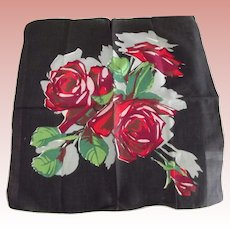 Unusual  Handkerchief With Roses and Black Background