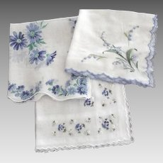 Handkerchiefs With  Blue Flowers