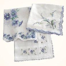 Handkerchiefs With  Blue Flowers