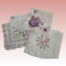 Handkerchiefs With Purple/Lavender Flowers