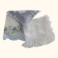 Three Vintage Handkerchiefs, One Bridal