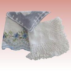 Three Vintage Handkerchiefs, One Bridal