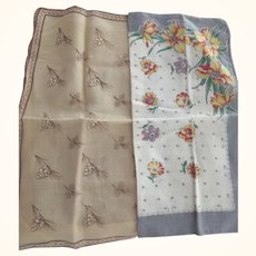 Two Hankies, one Floral, One Pinecones