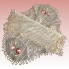 Doily With Cross Stitch and Lace