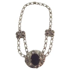 Vintage Large Silver Tone and Black Necklace