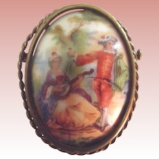 French Porcelain Pin With Man and Woman