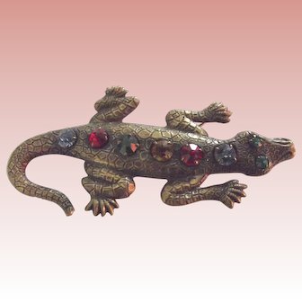 Lizard Pin With Multi Colored Stones
