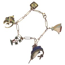 Charm Bracelet With Enamelled Fish Palm trees, Sail Boat