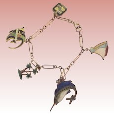 Charm Bracelet With Enamelled Fishm Palm trees, Sail Boat