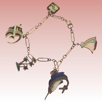 Charm Bracelet With Enamelled Fishm Palm trees, Sail Boat