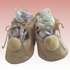 Cloth Doll Shoes With Pom Poms