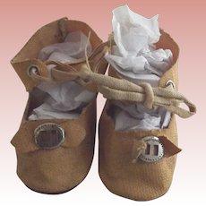 Tan Oil Cloth Doll Shoes