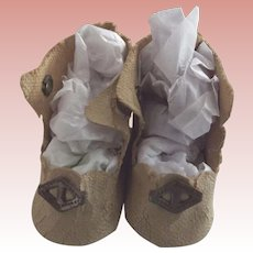 Small Beige OIl Cloth Doll Shoes