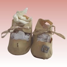White Oil Cloth Doll Shoes