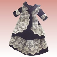 Black Velvet Lace TRimmed Doll Outfit