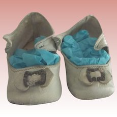 White Oil Cloth Heeled Doll Shoes