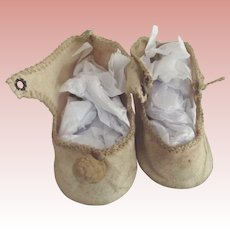 Beige Cloth Shoes For Doll