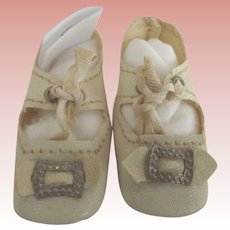 White Leather Doll Shoes With Heels
