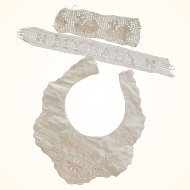 Bib and Two Needlework Pieces For Doll or Baby