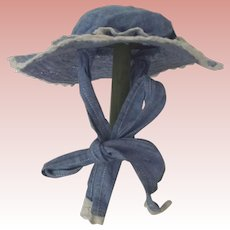 Blue Cotton Lace Trimmed Doll Bonnet
