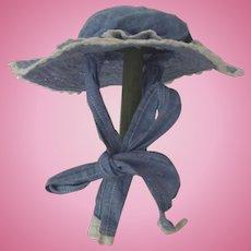 Blue Cotton Lace Trimmed Doll Bonnet
