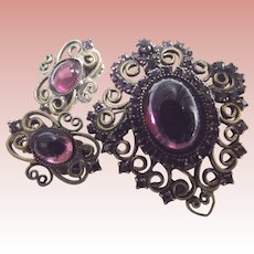 Brooch and Matching Earrings Purple Glass