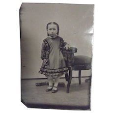 Tintype of A Little Girl Tinted Cheeks