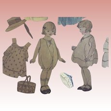 Pair of Little Girl Paper Dolls