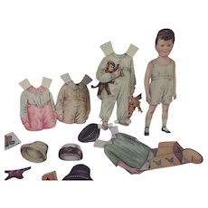 Little Boy Paper Doll With Large Wardrobe and Accessories