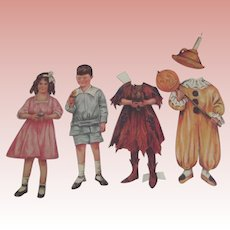 Boy and Girl Paper Dolls With Halloween Costumes