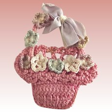 Pink Crocheted Doll Basket With Flowers