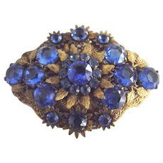 Large  Early Brooch With Blue Glass  Stones