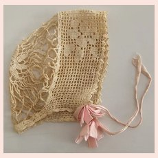 Beautiful Old Crocheted Bonnet For Child or Doll