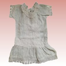 Lace Trimmed White Dropped Waist Doll Dress