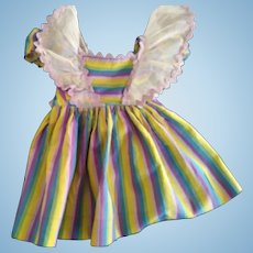 Cotton and Organdy Striped 50's Doll Dress