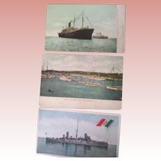 Postcards of Steamship Minnesota, Italian Cruiser Varese and Harvard-Yale Boat Race