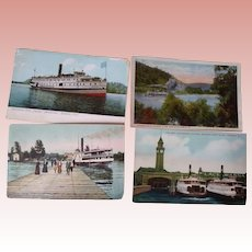 Three Postcards of Steam Ships One of Ferry Boats
