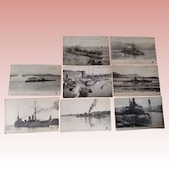 Seven Postcards of French War Ships