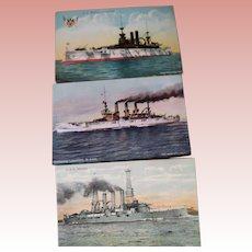 Postcards of Three Battleships