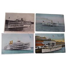 Hudson River Steamer Postcards, 1919 Block Harbor Ship,