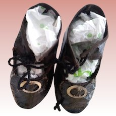 Black Oilcloth Doll Shoes