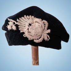 Black Velvet Tam Hat For Doll